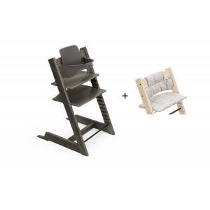Stokke - BU456 - Chaise haute Tripp Trapp gris brume, coussin Etoile grise et babyset (473284)