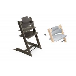 Stokke - BU457 - Chaise haute Tripp Trapp noyer, coussin Nordic bleu et baby set (473286)