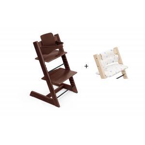 Stokke - BU458 - Chaise haute Tripp Trapp noyer, coussin Etoile multicolor et babyset (473288)