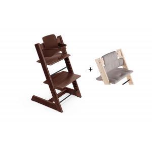 Stokke - BU459 - Chaise haute Tripp Trapp noyer, coussin Icon gris et babyset (473290)