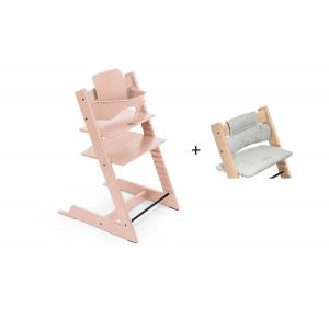 Stokke - BU465 - Chaise haute Tripp Trapp rose, coussin Nordic grey et babyset (473302)
