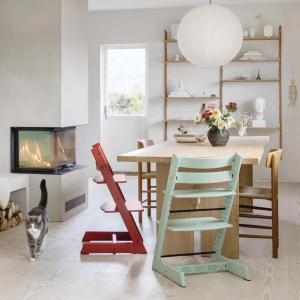 Stokke - BU469 - Chaise haute Tripp Trapp soft mint, coussin Birds bleu et babyset (473310)