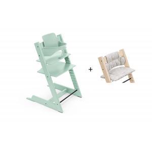 Stokke - BU470 - Chaise haute Tripp Trapp soft mint, coussin Etoile grise et babyset (473312)