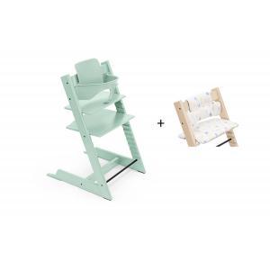 Stokke - BU471 - Chaise haute Tripp Trapp soft mint, coussin Etoile multicolor et babyset (473314)