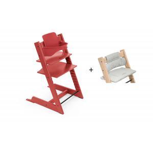 Stokke - BU472 - Chaise haute Tripp Trapp rouge chaud, coussin Nordic grey et babyset (473316)