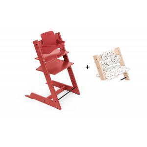 Stokke - BU474 - Chaise haute Tripp Trapp rouge chaud, coussin Lucky gris et babyset (473320)
