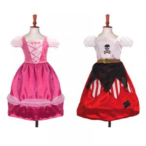 Travis - PPR6 - Costume Reversible - Princess/Pirate 2 in 1 pink/red/black - 6 à 8 ans (66217)