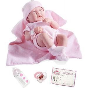 Berenguer - 18541 - Poupon Newborn nouveau né sexué fille barboteuse rose avec couverture 43 cm (91960)